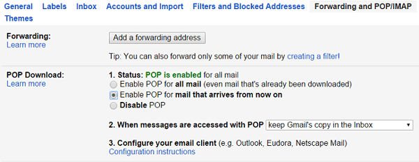 Configure Gmail POP3 Email Settings for Outlook, Android