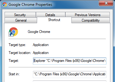 chrome-shortcut-properties