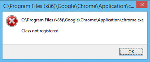 google chrome class not registered
