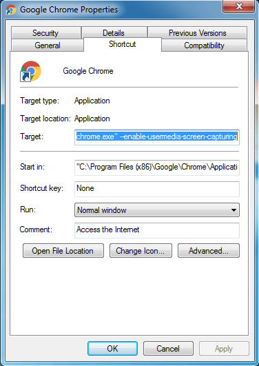 google chrome --enable-usermedia-screen-capturing
