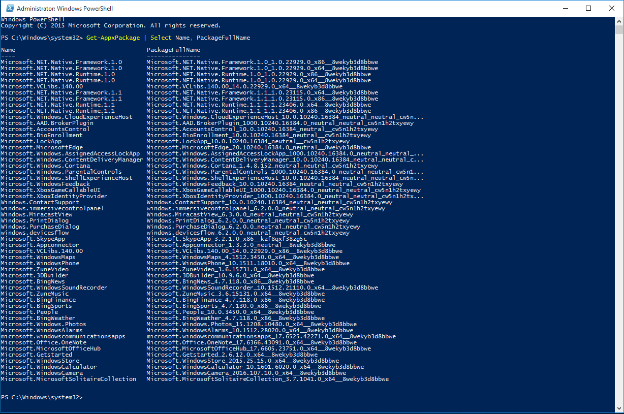powershell shows all installed apps
