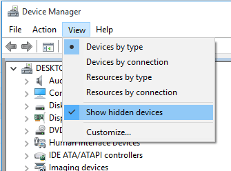 show hidden devices windows device manager