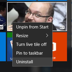 normally uninstall apps on Windows 10