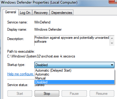 disable windows defender services