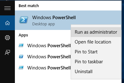 open powershell using Windows search