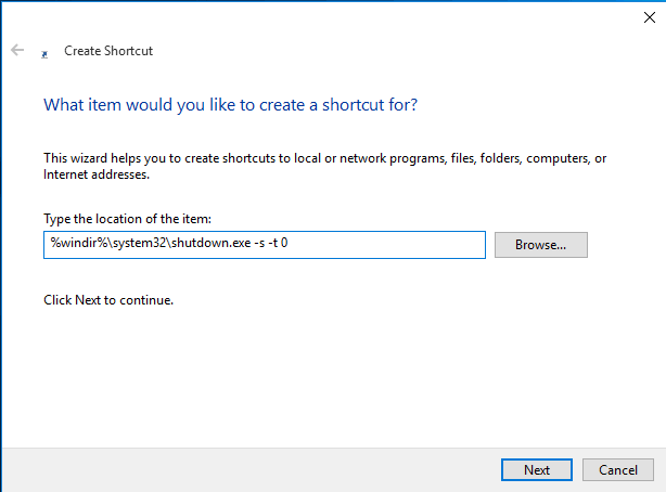 windows 10 shutdown shortcut key