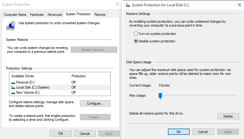 turn off system protection of Windows installation drive
