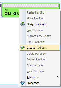 create new partition from unallocated volume using AOMEI Partition Assistant