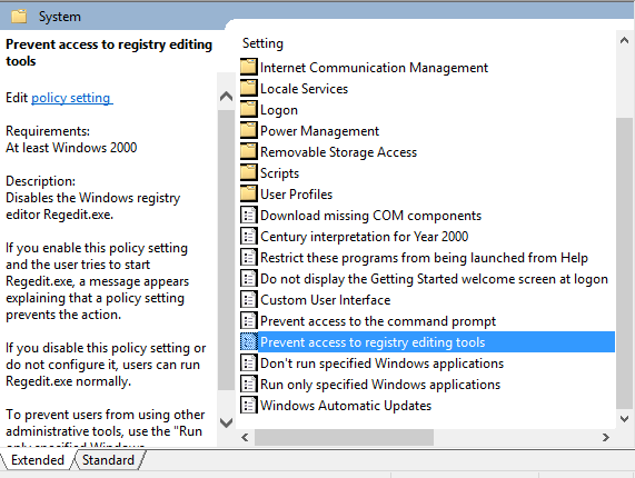 prevent access to registry editing tool in windows