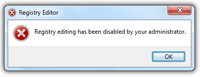 Registry editing has been disabled by your administrator