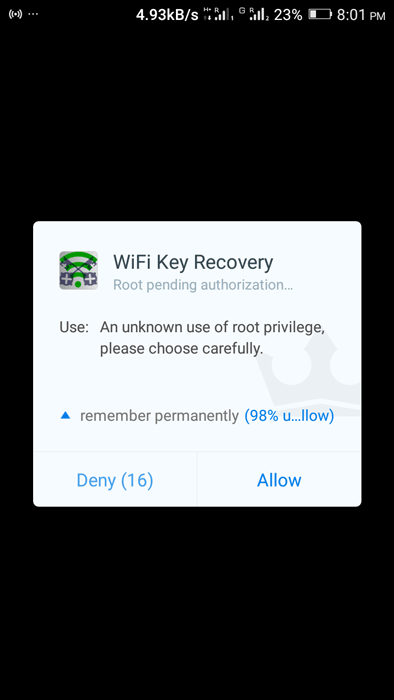 grant root permission for wi-fi key recovery