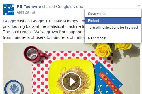 show video embed option Facebook