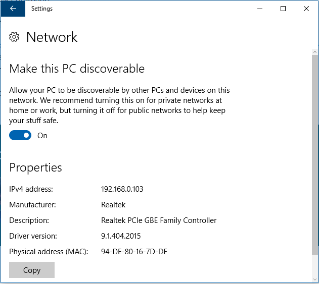 make PC discoverable to network