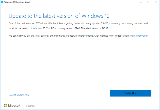 update assistance windows 10