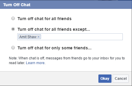 keep invisible in Facebook chat for specific people