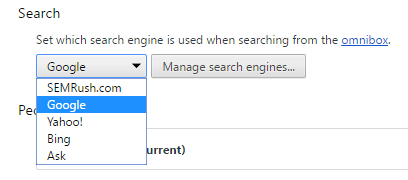 set Google search as default search in Chrome
