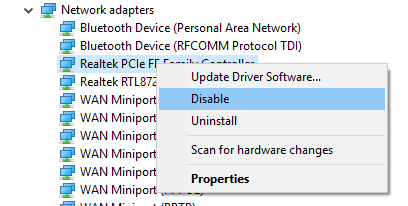 uninstall, update driver of wi-fi network adapter