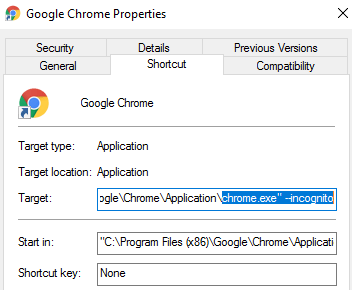 force chrome to launch always in incognito