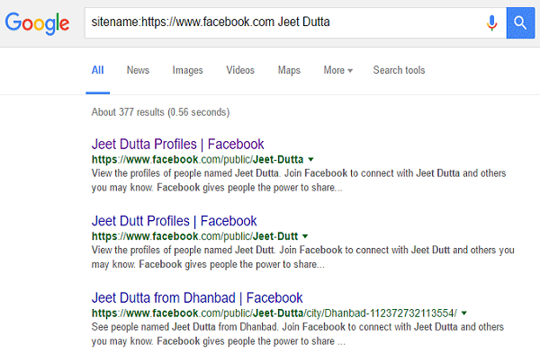 Use Google site oriented search and find friends from Facebook