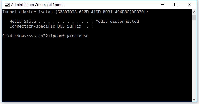 ipconfig/release command to release IP of PC