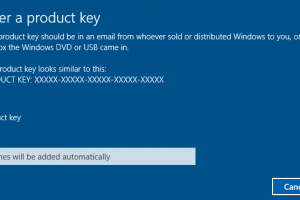 where to enter product key of Windows 10