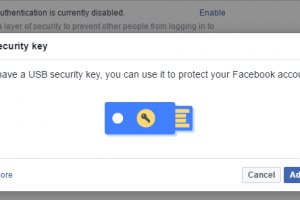 Facebook security using U2F USB