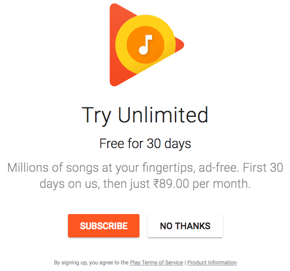 Subscribe to Google Play Music in India