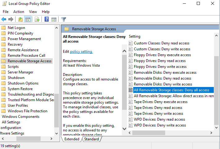Unblock usb storage by changing settings in Gpedit.msc setting
