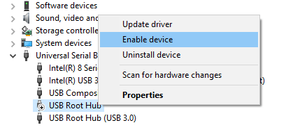 Enable Universal Serial Bus controller on Windows
