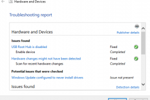 troubleshooting report for windows hardware and devices problems