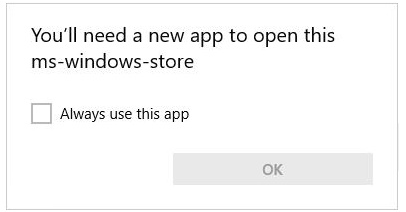 solve You'll need a new app to open this ms-windows-store error windows 10